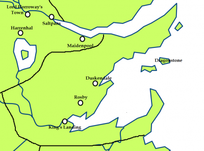The crownlands and the location of Blackwater Bay