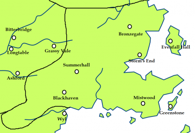 The stormlands and the location of the Red Mountains